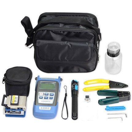 Free shipping Fiber Optic FTTH Tool Kit with Fiber Cleaver Optical Power Meter 5km Visual Fault Locator Wire stripper