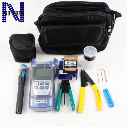 7pcs/set Fiber Optic FTTH Tool Kit with FC-6S Fiber Cleaver and Optical Power Meter 5km Visual Fault Locator Wire stripper